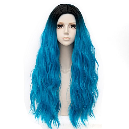 Black Roots Mixed Aqua Blue Long 32 Inches Curly Heat Resistant Cosplay Wig Fashion Lolita Women's (Black Rinse Apparel)
