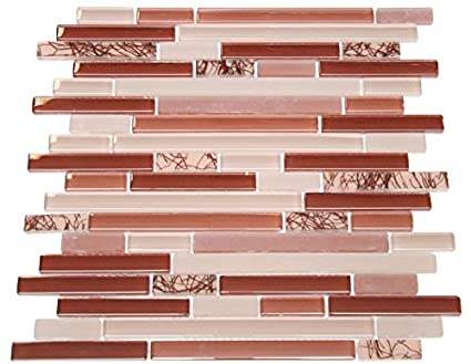 Glossy Wine Red With Red Plant Pieces Random Brick Pattern Mosaic Mesmerizing Random Tile Pattern