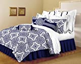 Woven Trends 5-Piece White/Indigo Comforter Sham Pillow Set 100% Ultra Soft Microfiber Modern Comforter - Full/Queen