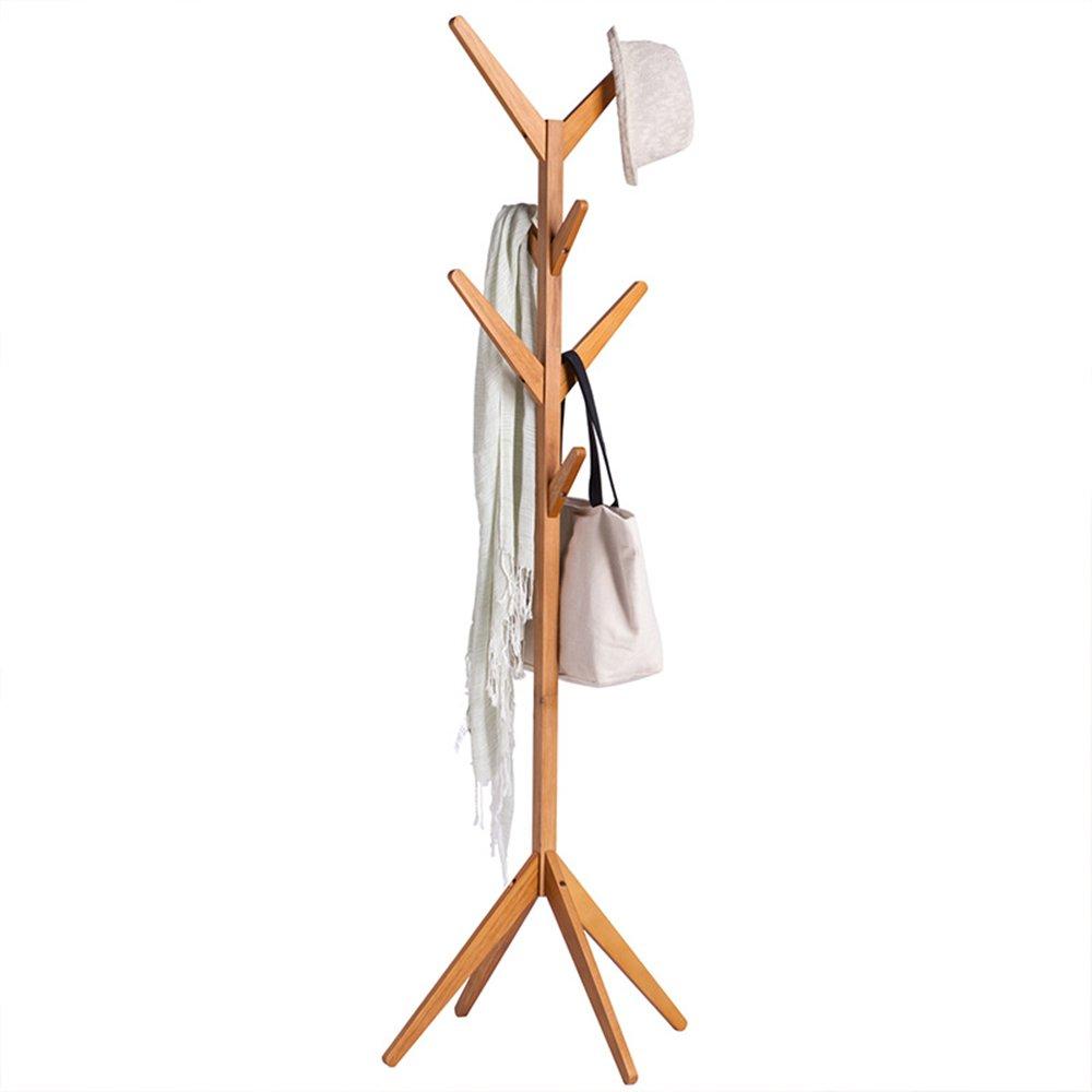 Wooden Solid Wooden Coat Rack / Floor Shelf / Simple Home Bedroom Hanging Hanger / Simple Living Room Modern European Style Shelf (44 44 175cm)