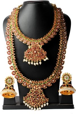 Fashionatelier Mango Long Pearl Haram with Pendant and Short Mango Necklace with Earrings