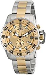 Invicta Men's 13626 Pro Diver Chronograph Gold Tone Dial Two Tone Stainless Steel Watch
