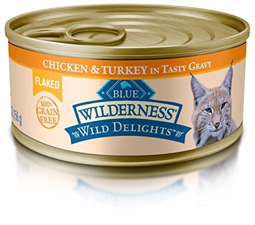 Blue Wilderness Wild Delights Adult Grain Free Flaked Chicken & Turkey In Tasty Gravy Wet Cat Food 5.5-Oz (Pack Of 24)