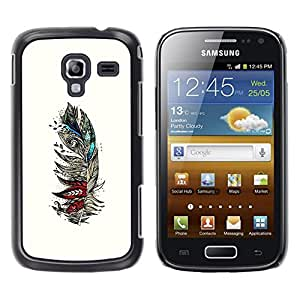 Paccase / SLIM PC / Aliminium Casa Carcasa Funda Case Cover - Feather Birds Abstract Art Drawing - Samsung Galaxy Ace 2 I8160 Ace II X S7560M