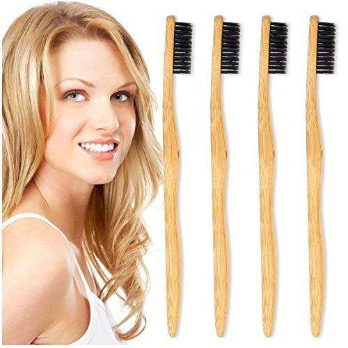 Bamboo Toothbrush - Biodegradable Toothbrushes,4 Pack Bamboo Charcoal Toothbrushe BPA Free Nylon Medium Soft Bristles For Sensitive Gums,Individually Packaged Vegan Bamboo Toothbrushes