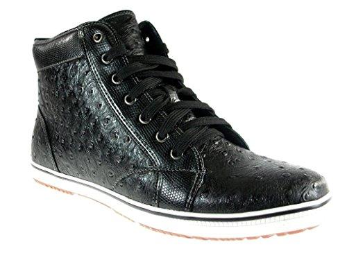 Ferro Aldo Men's 5077-Black Ostrich Textured Hi-Top Sneakers, Black, 7
