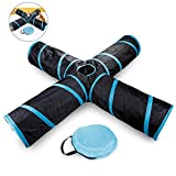 Pawaca 4 Way Cat Tunnel, Collapsible Cat Toy Tunnel with Storage Bag, Interactive