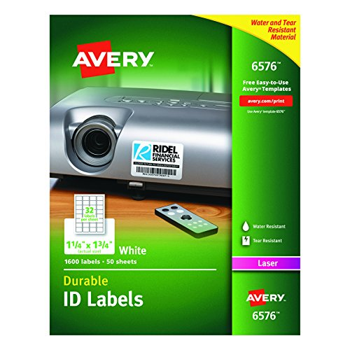 "Avery Durable White Cover up ID Labels for Laser Printers, 1.25"" x 1.75"", Pack of 1600 (6576) hot sale"