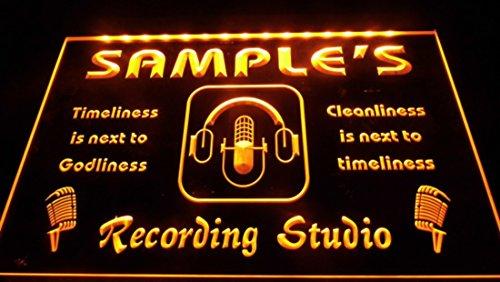 Recording Custom (Orange Name Personalized Custom Recording Studio Microphone Neon Sign)