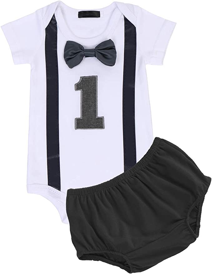 Luxury Boys First 1st Birthday Outfit Cake Smash Set Vest Top Crown Hat Black