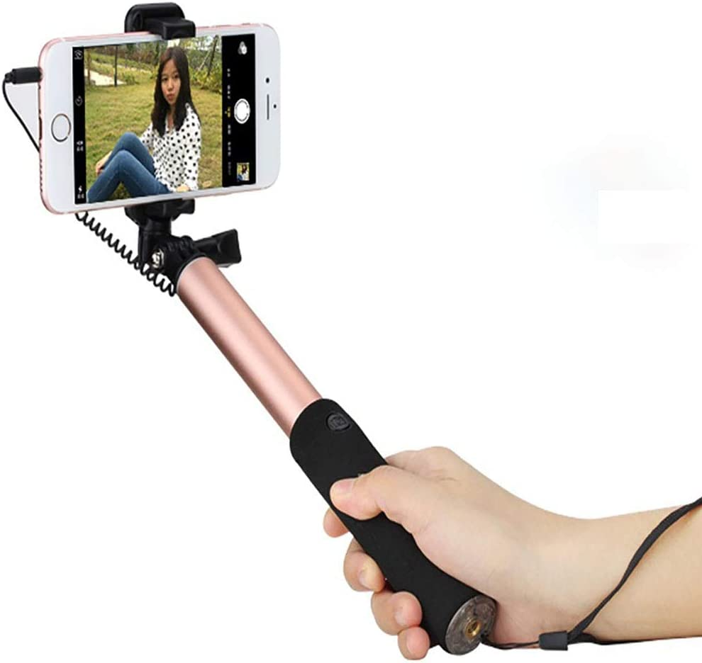 Extendable Handheld Self-Pole Tripod Monopod Stick for Smartphone CHUANG TIAN Aluminum Wire Remote Control Stick Gold