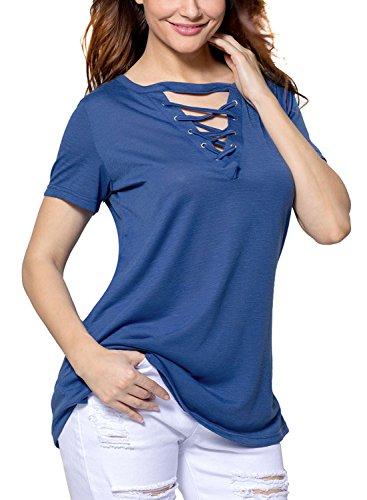 ROSKIKI Women's V Neck Criss Cross T Shirts Keyhole Blouse Tops US ( 12 - 14 ) (Criss Cross Halloween)