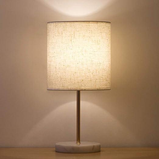 Lámpara de mesilla dorada moderna - Lámparas de mesilla de noche doradas con pantalla de tela de lino con base de mármol blanco, lámpara de escritorio para -dorado: Amazon.es: Iluminación