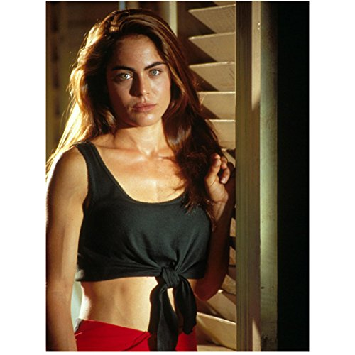 (Drop Zone (1994) 8 Inch x10 Inch Photo Yancy Butler Black Tied Up Top Bare Tummy kn)