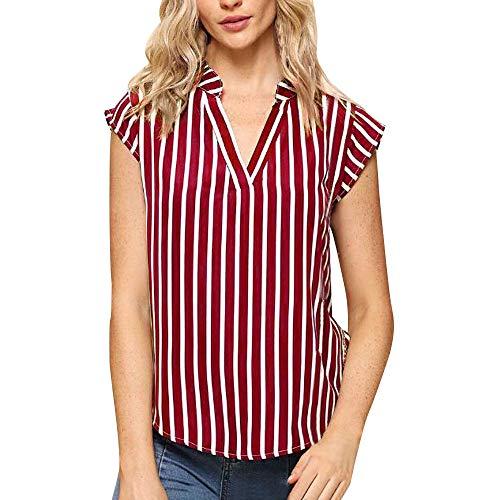 Caopixx Caopixx Vest Tops for Women Casual V-Neck Stripe Print Tops Sleeveless T-Shirt Tee Blouse
