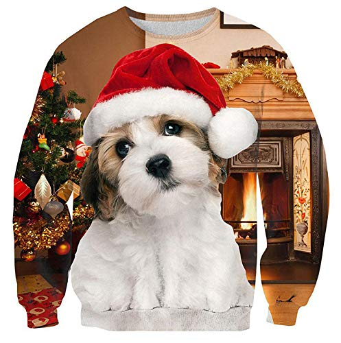 Mens Women's Ugly Christmas Sweaters Animal Graphics Dog with Red Christmas Hat Warm Fireplace Long Sleeve O Neck Jacket Jumper Clothes for Dad Xmas Party Small]()