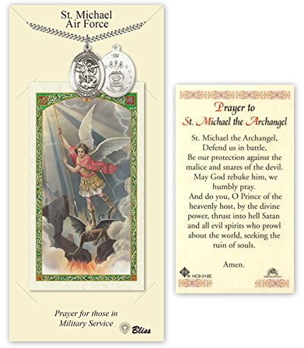 Pewter Saint Michael Air Force Medal with Laminated Holy Prayer Card