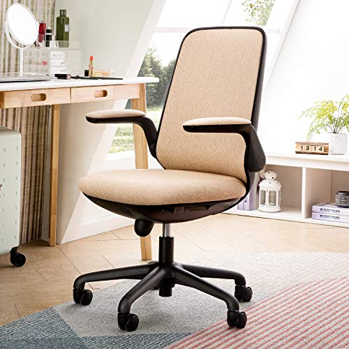 OVIOS Office Chair,Water Resistant Fabric Desk Chair for Dresser and Home Office,Modern,Comfortble,Nice Task Chair for Computer Desk. (Black-Beige)