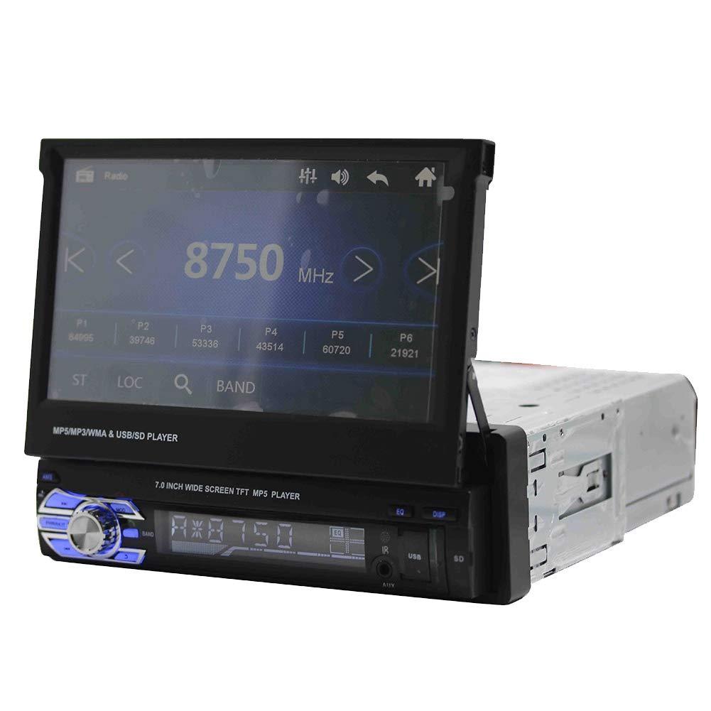 7In HD Touch Screen Telescopico per Auto Stereo-Single DIN Bluetooth MP5-9601G con GPS ASHATA MP5 Car Player 4-Luce Telecamera di retromarcia Supporto TF Card