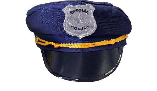 Suspendida-Gorra, diseño de policía, color azul y dorado: Amazon ...