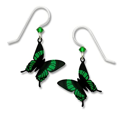 170e93ae9 Image Unavailable. Image not available for. Color: Sienna Sky 3D Green Black  Butterfly Drop Earrings 1804