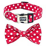 Fourhorse Cute Soft Dog with Bowtie, Detachable Adjustable Bow Tie Collar Pet Gift (XS, Red Dot)