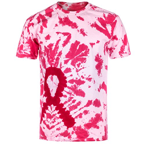 Die Ribbon - Magic River Handcrafted Tie Dye T Shirts - Pink Ribbon - Adult Small