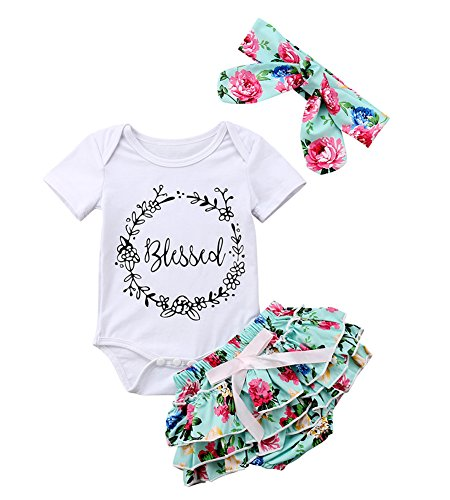 Infant Baby Girls Floral Outfit Set Blessed Print Romper Floral Ruffle Shorts Clothes with Headband (Green, 6-12 Months)