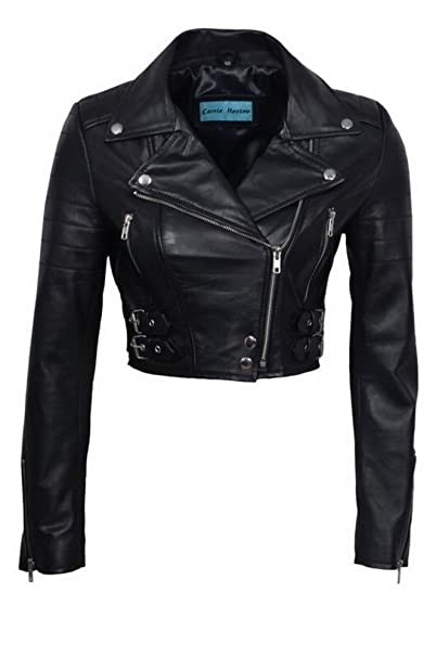 Infinity Womens Chic Black Cropped Leather Biker Jacket