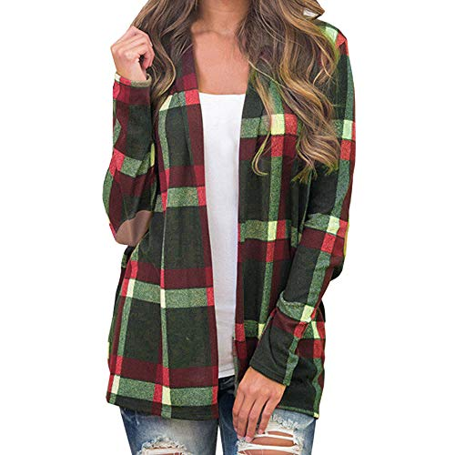 (Women Coat, Women Plaid Long Sleeve Pullover Blouse Open Front Jacket Coat Outerwear, Womens Coats d-Medical lab Coats)