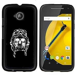 BearCase / Cubierta de protección Caso duro de la contraportada de Shell Plástico /// Motorola Moto E ( 2nd Generation ) /// Cráneo Piloto Negro Bike Riding Muerte