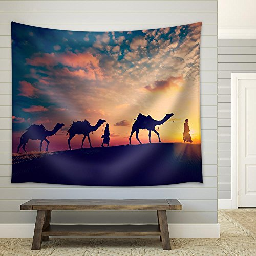 Wall26 - Vintage Retro Effect Filtered Hipster Style Image of Rajasthan Travel Background - Fabric Wall Tapestry Home Decor - 68x80 inches