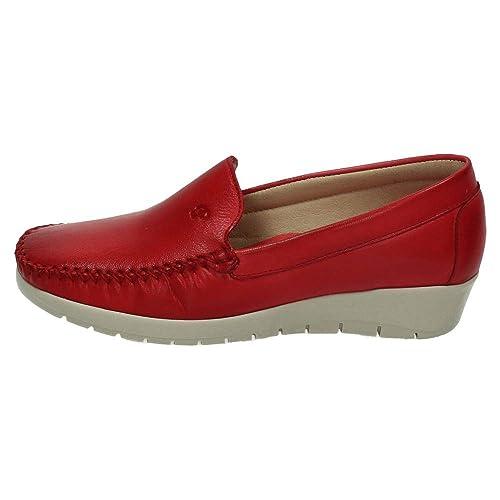 MADE IN SPAIN 1718 Mocasines Piel CUÑA Mujer Zapatos MOCASÍN Rojo 37