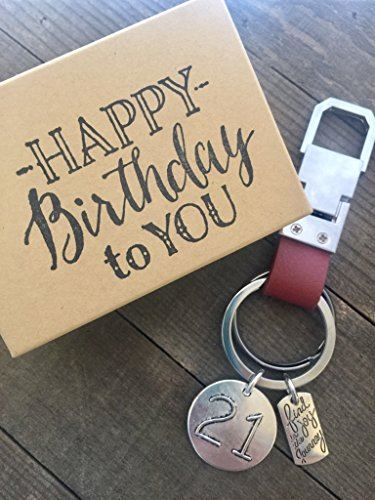 Harper Olivia 21st Birthday Keychain Gift Genuine Leather Key Chain with Gift Packaging for Boy or Girl