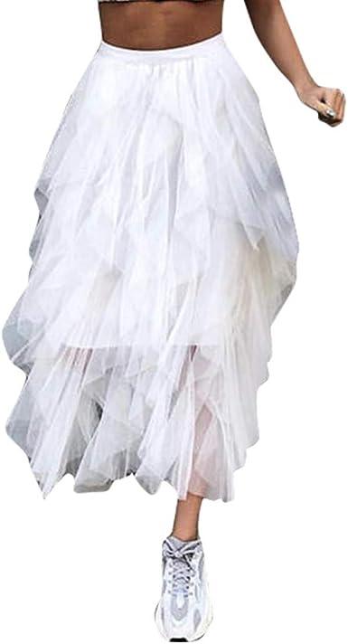 beautyjourney Falda Plisada de Tul para Mujer Falda Larga de ...