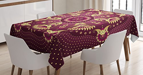 "Ambesonne Purple Mandala Tablecloth, Iranian Middle Eastern Retro Floral Motif, Dining Room Kitchen Rectangular Table Cover, 60"" X 84"", Rose Yellow"