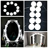 Makeup Mirror Lights,15W Hollywood Style LED Vanity Mirror Lights 10 LED Bulbs Kit for Makeup Dressing Table, with Dimmer and Power, Mirror Not Included