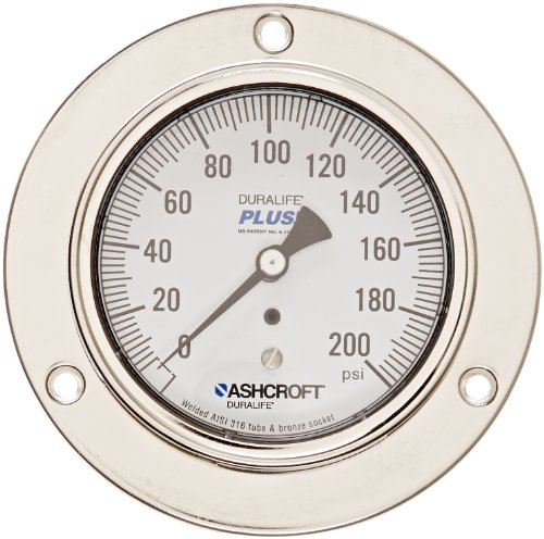 ASHCROFT Duralife Type 1009 Stainless Steel Case Dry Filled Pressure Gauge, Stainless Steel Tube and Bronze Socket, Front Flange Mounting, PLUS Performance Dampening, 3.5