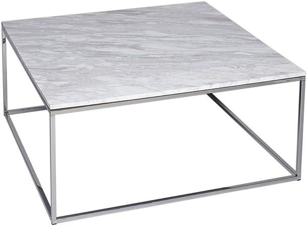 Gillmore Space Verre Blanc Table Basse carré d'Argent métal
