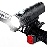 Bike Light, LED Bicycle Rechargeable Light Set 800 Lumens for a Brighter Bike Light Wide & Long Cover Range - 85° & 650ft IPX6 Waterproof Plus Upgraded Tail Light Bike Lights