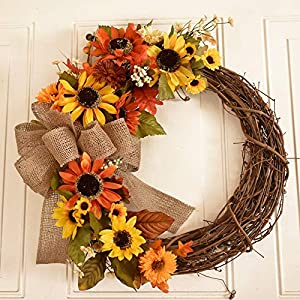 Floral Home Decor Sunflower Fall Wreath with Burlap Bow 32