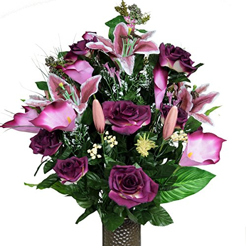 Burgundy Rose and Stargazer Lily Silk Flower Bouquet with Stay-In-The-Vase® Design Flower Holder(LG1003)