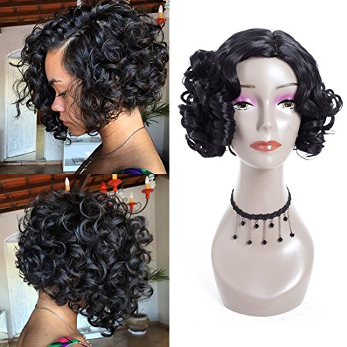 Short Bob Wigs for Women Short Curly Wigs Fluffy Wavy Black Synthetic Hair Wig Natural Looking Halloween Costume (black curly) (Womens Bob Wigs)