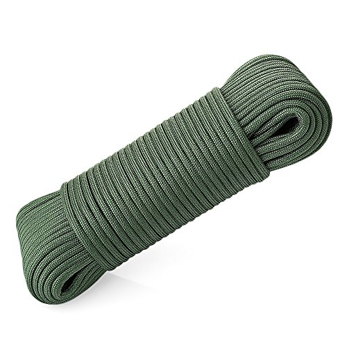 WJY Outdoor Climbing Rope 31M (101.7ft),Static Climbing Safety Rope,Tree climbing Rope,Rescue Rope,Escape Rope,Parachute Rope,Diameter 4mm(0.16),Max Tension 644 Lbs Rope for Outdoor C (Army Green)