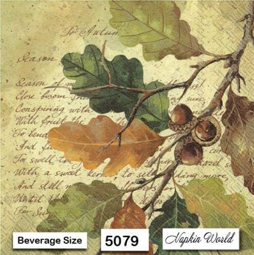 5079 GS Two Individual Paper Beverage Decoupage Napkins Oak Autumn Script Leaf