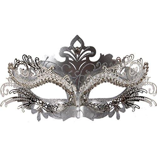 Vanki 1 Pcs Masquerade Mask Laser Cut Metal Shiny Rhinestone Party Mask,Silver by Vanki