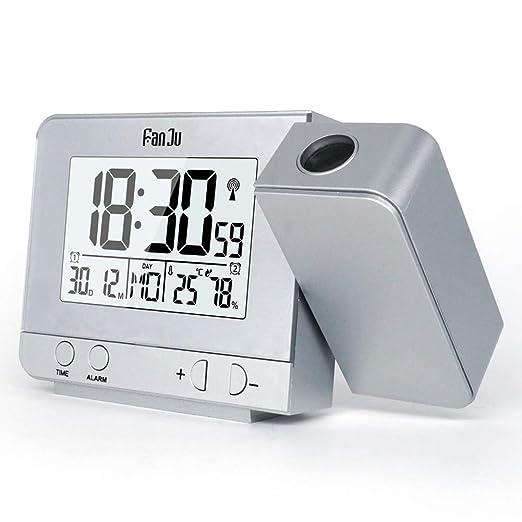 IDABAY Reloj Despertador con Proyector, Giratorio Termómetro e ...