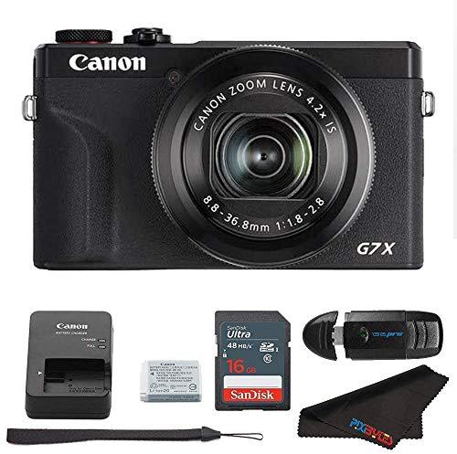 Canon PowerShot G7 X Mark III دوربین دیجیتال Canon PowerShot G7 X Mark III (سیاه) کارت حافظه کارت حافظه 16 گیگابایت Pixibytes میکرو فیبر پارچه تمیز کردن