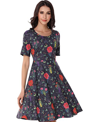 Tara Seagull Women's Vintage Flared Floral Print Flowy Party Dress L Black