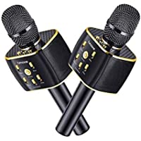 Dual Sing Duet Version 3300mAh Wireless Karaoke Microphone 12w Hi-Fi Bluetooth Speaker Player for iPhone Android…